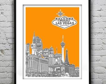 Presidents Day Sale 15% Off - Las Vegas Sin City Skyline Art Print Poster Las Vegas Strip Nevada NV Version 1