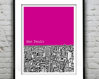 Sao Paulo Brazil Poster Print Skyline Art South America