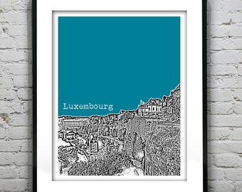 Luxembourg City Skyline Poster Art Print Europe