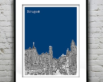 Bruges Belgium Poster Art Print Skyline Europe