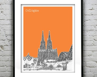 Cologne Cathedral Skyline Poster Art Print Germany Europe