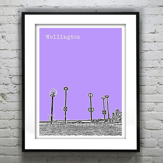 Wedding Gifts For Guests New Zealand : Wellington New Zealand Poster Art Skyline by AnInspiredImage