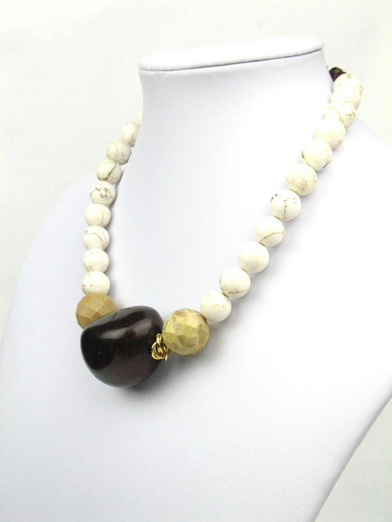 Bead Statement Necklace in Earthy Tones with Ochre Jade, White Howlite and Brown Tagua Nut Bead