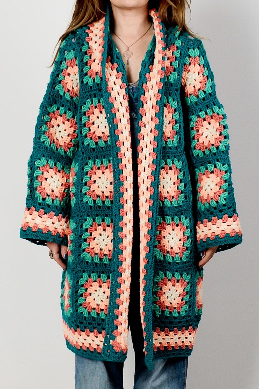fa7b0c105ee980 vintage 70s HOODED Granny Square Cardigan Sweater Coat jacket