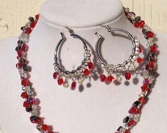 Price has been reduced by 30% - Shades of Red Crystal and Hematite Wire Crochet Choker Necklace and Hoop Chandelier Earrings Set