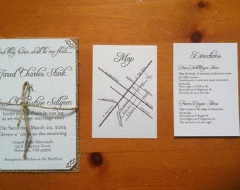 White Wedding invitation with  maps natural burlap Wedding Invite