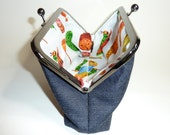 Blue jeans clutch bag with very hungry caterpillar lining