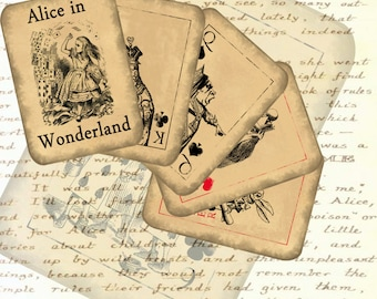 Alice in Wonderland playing cards full deck printable collage sheet, instant download