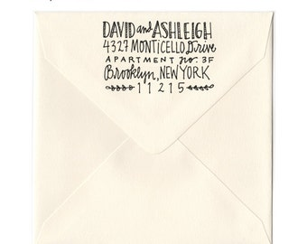 Large Whimsical Hand Drawn Address Stamp