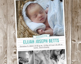 Multi Photo Birth Announcement - Custom - Printable - Baby Boy - Baby Girl