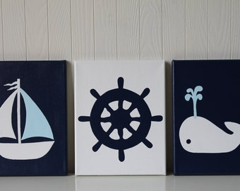 Nautical Nursery Sailboat Nursery Whale Nursery Navy Baby Blue Nursery Painting Ship's Wheel Modern Nautical Nursery
