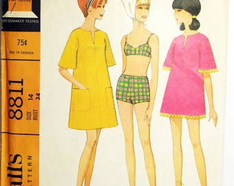 1967 McCalls 8811 Womens Swim Suit Vintage Sewing Pattern Beachwear Resort