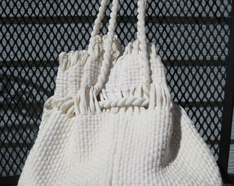1950s White Drawstring Purse Made By The Terry Company