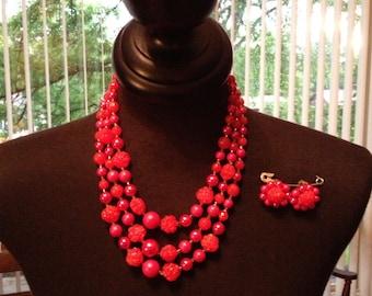 Vintage 3 Tier Cascading Necklace and Earring Set