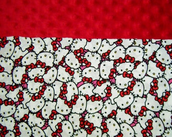 Nap Mat Cover / Toddler Cot Cover with Padded Minky Dot Headrest - Hello Kitty Faces