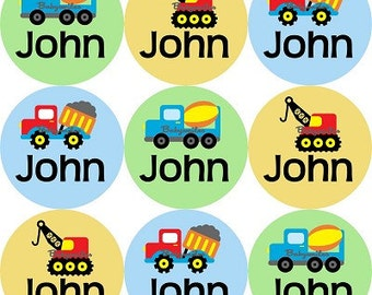 Personalized Waterproof Labels Waterproof Stickers Name Label Dishwasher Safe Daycare Label School Label Baby Label - Construction Trucks