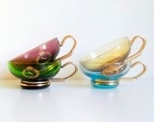 Vintage glass cups, colored glass cups, European glass cups, glass tea cups.