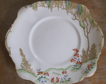 Very pretty Vintage china sandwich or cake plate minor wear Plant pattern standard with handpainted detailing