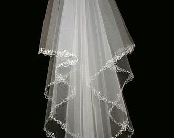 Bridal Veil - Tess Wedding Veil with Embroidery - Veil with Two Layers-Lace Veil-Cascade Veil - Ivory Veil - White Veil - Champagne Veil