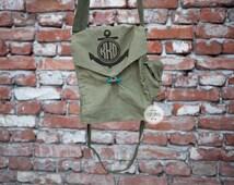 Monogram anchor messenger bag military custom monogrammed crossbody bag army canvas green cotton iPad bag iPhone personalized bag