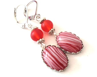 Cherry cream - red earrings