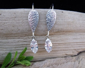 Handcrafted Textured Sterling Silver & Clear Marquis CZ Earrings.
