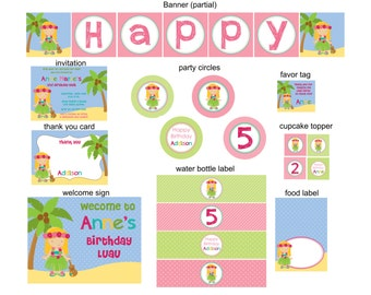DIY -  Luau Hula Girl Birthday Party Pack - Coordinating Items Available