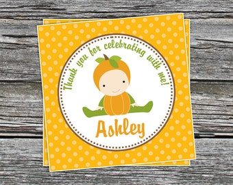 DIY - Fall Pumpkin Baby Shower or First Birthday Party Favor Tags- Coordinating Items Available