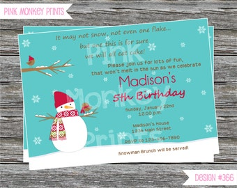 DIY - Boy or Girl Snowman Birthday Party Invitation # 366 - Coordinating Items Available