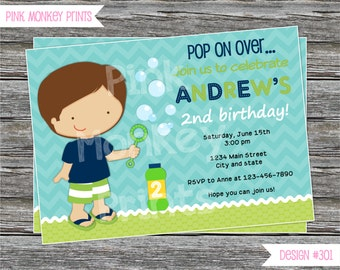 DIY - Boy Bubbles Birthday Party Invitation #401 - Coordinating Items Available
