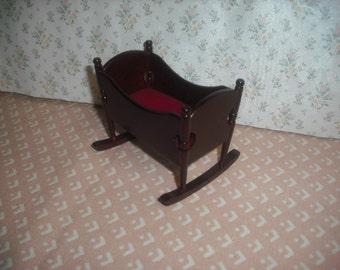 1:12 scale dollhouse miniature vintage cradle (Cherry Color)