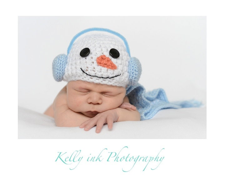 snowman hat crocheted baby hat newborn photo prop unique hat