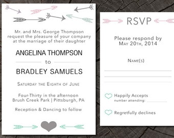 Simplistic Arrow Wedding Invite and RSVP card