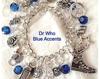 Doctor Who Charm Bracelet  Inspired  Jewelry geekery Style with Tardis