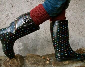 Crocheted boot cuffs.
