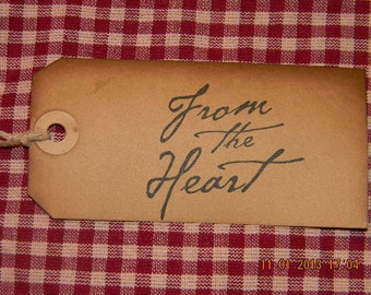 25 Large From the Heart Primitive Handmade Hang Tags
