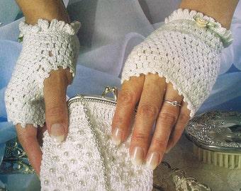 fingerless bridal gloves and pearl purse crochet pattern/pdf