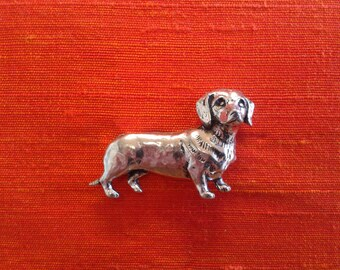 pewter silver dachshund sausage dog brooch pin