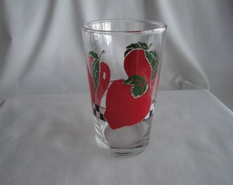 Vintage Apple Tumbler/ Glass Tumbler/Juice Glass