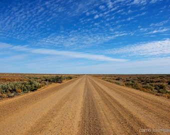 Australia Landscape Photography, Road Photograph, Outback Decor, Blue Home Decor , Blue and Tan Decor, Country Home Decor, Countryside Art