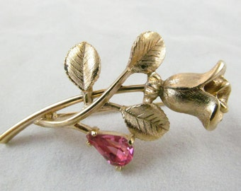 Really Pretty Vintage Goldtone  Colored Flower Shaped  Pin By Avon  Brushed Gold Tone Base with Pretty Pink Rhinestone