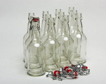 Clear 16 Oz Flip Top Bottles Case of 12