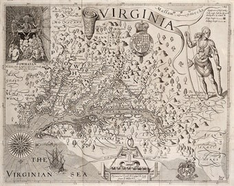 "Captain John Smith : ""Map of Virginia"" (1612) - Giclee Fine Art Print"