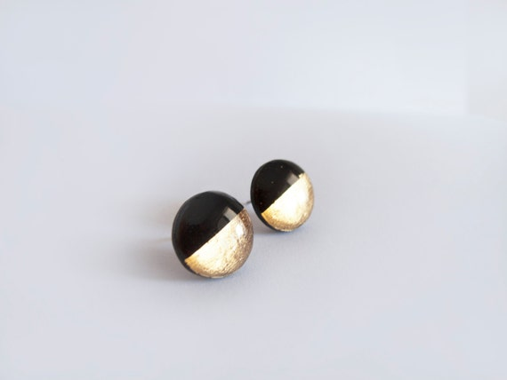 black gold stud earrings hypoallergenic by lamfatita
