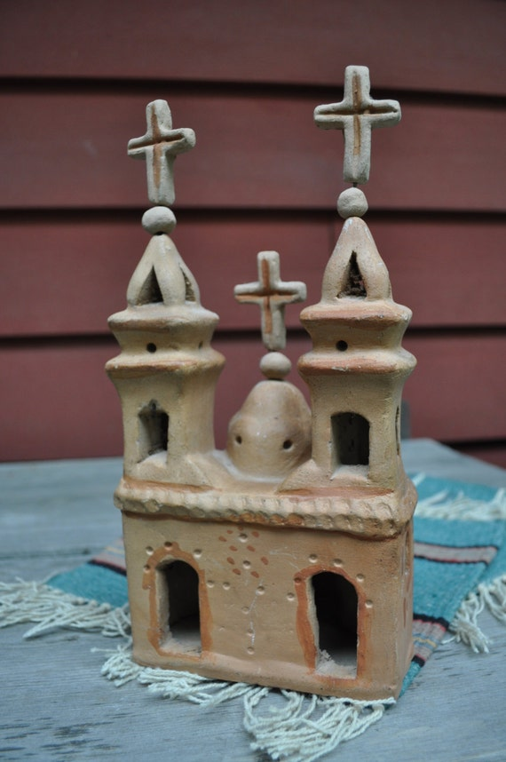 Mexican Clay Pottery Mission Church Folk Art