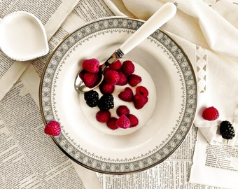 Kitchen Art, berries and cream, vintage china, red raspberries, blackberries, red, black, French-inspired Home Decor, poster