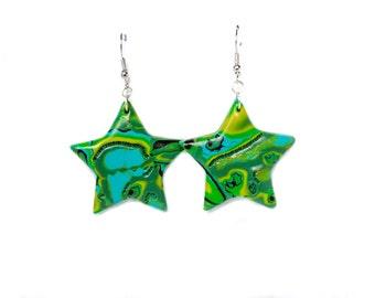 Polymer clay earrings Star earrings Green earrings Mint earrings Dangle earrings Yellow earrings Abstract earrings Spring earrings Casual