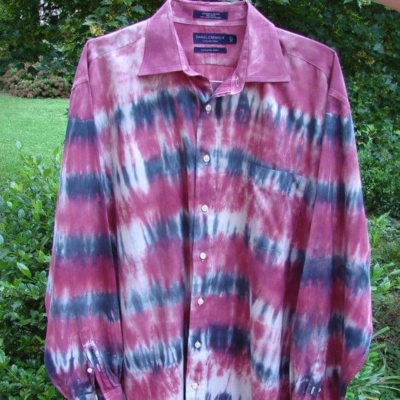 Men S Tie Dye Dress Shirt Size Xl By Tiemeupanddyeme On Etsy