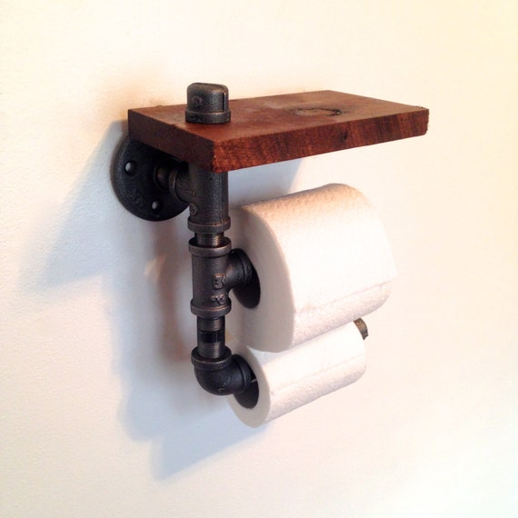 Double Toilet Paper Holder Reclaimed Wood Pipe