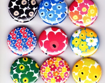 9 MARIMEKKO UNIKKO Badges - modern dress patterns kitsch retro art street